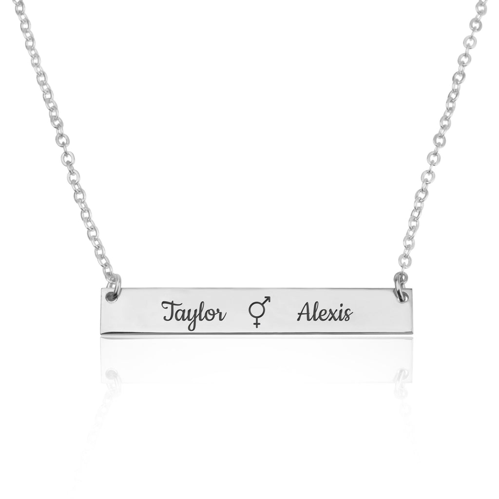 Bigender Bar Necklace With Engraved Names - Beleco Jewelry