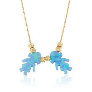 Blue Opal Charms Necklace - Beleco Jewelry