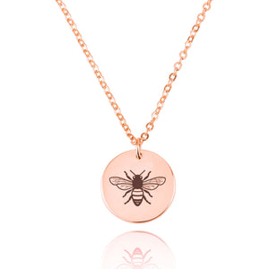 Bumblebee Engraving Disc Necklace - Beleco Jewelry