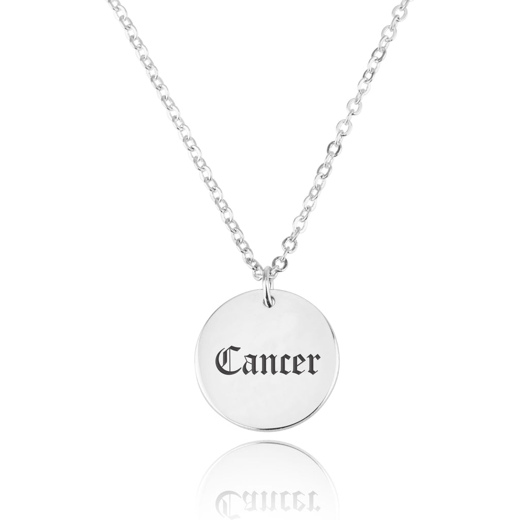 Cancer Script Disk Necklace - Beleco Jewelry