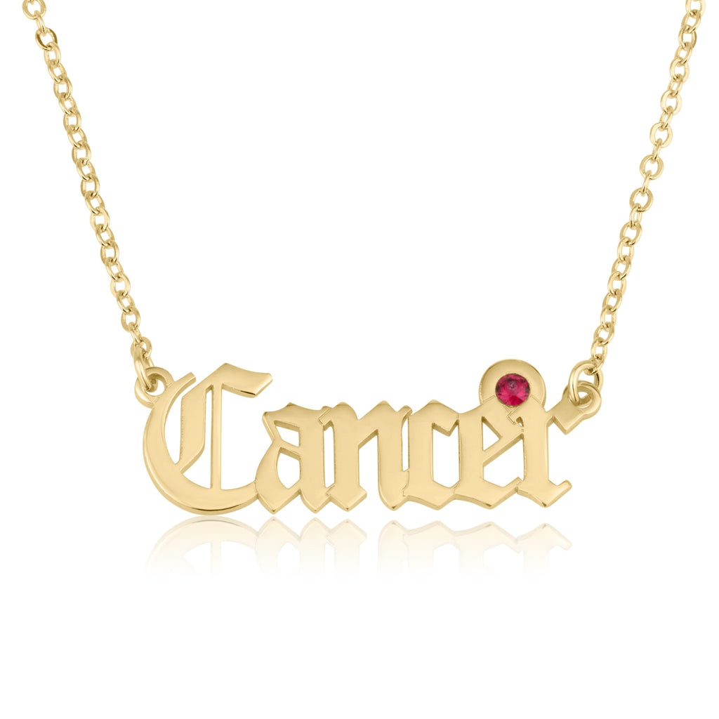Cancer Script Necklace With Swarovski Birthstone - Beleco Jewelry