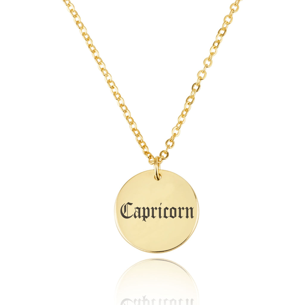 Capricorn Script Disk Necklace - Beleco Jewelry