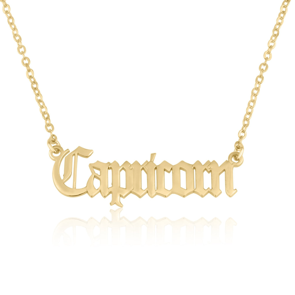 Capricorn Script Necklace - Beleco Jewelry