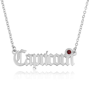 Capricorn Script Necklace With Swarovski Birthstone - Beleco Jewelry