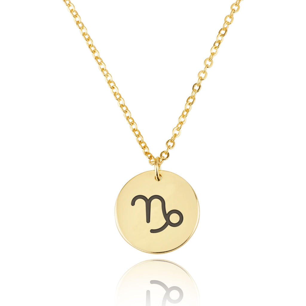 Capricorn Zodiac Sign Disk Necklace - Beleco Jewelry