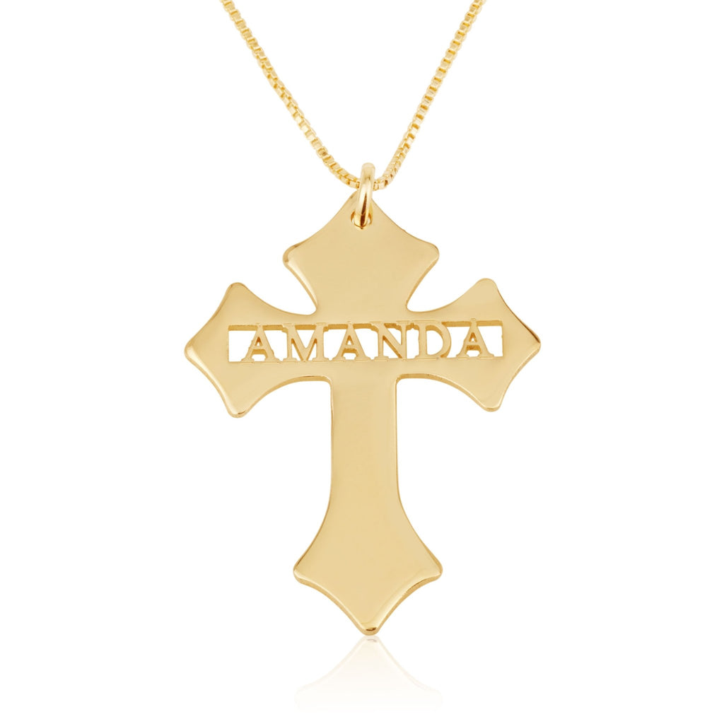Christmas Cross Name Necklace - Beleco Jewelry