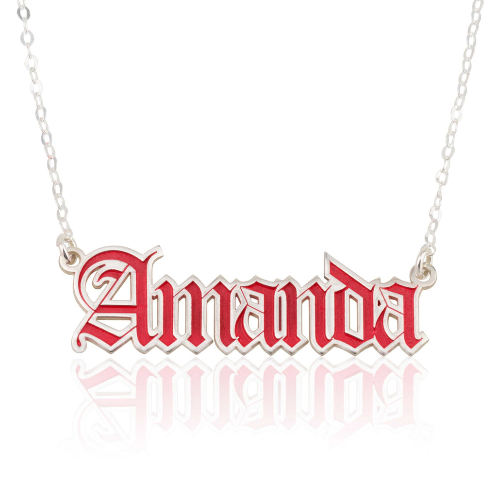 Colorful Gothic Name Necklace - Beleco Jewelry