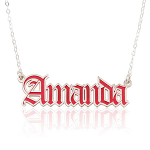Custom Colorful Old English Name Necklace - Beleco Jewelry