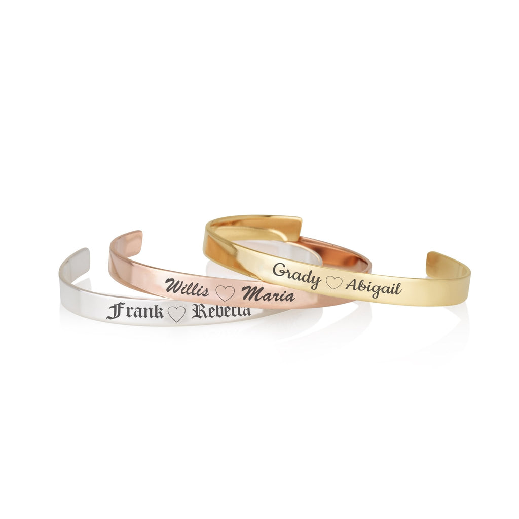 Custom Couple's Names Cuff Bracelet - Beleco Jewelry