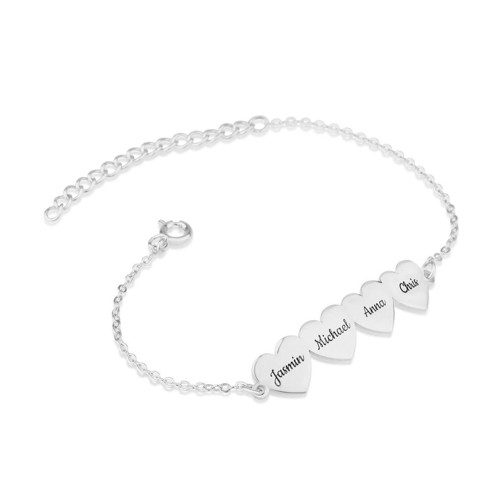 Custom Four Hearts Name Bracelet - Beleco Jewelry