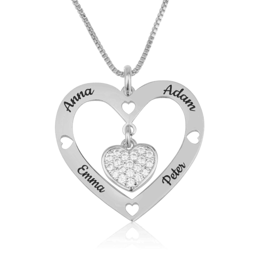 Custom Four Names Necklace With Zirkon Heart - Beleco Jewelry