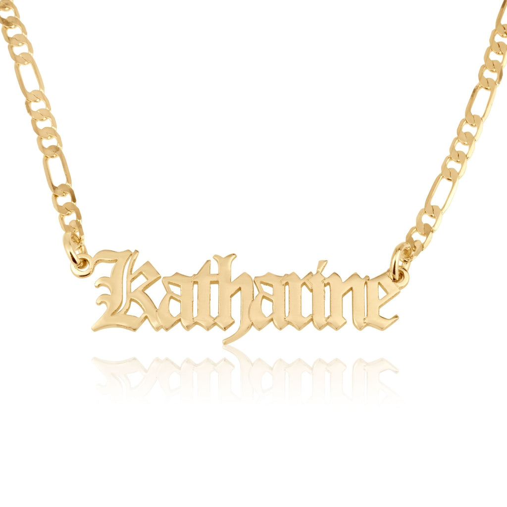 Custom Gothic Name Necklace With Figaro Chain - Beleco Jewelry