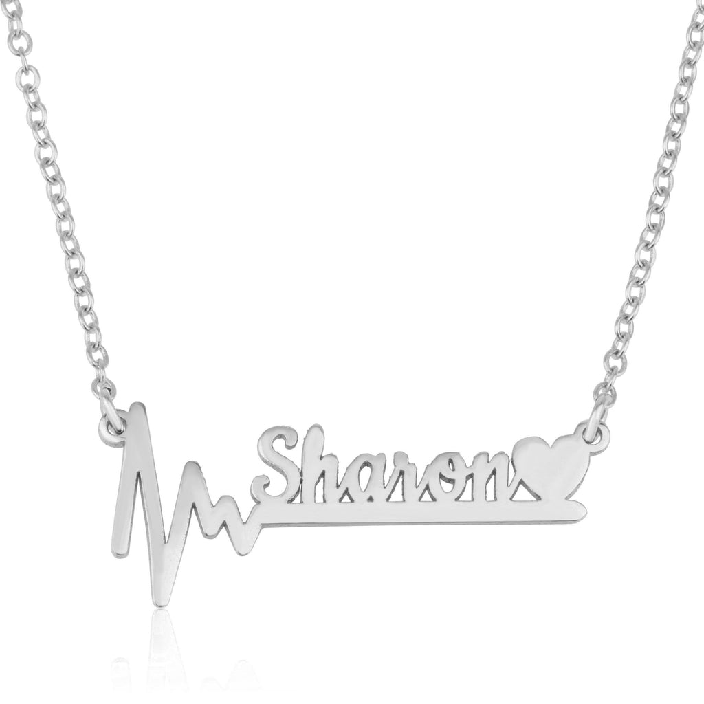 Custom Heartbeat Name Necklace - Beleco Jewelry