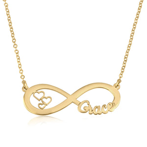 Custom Infinity Name Necklace With Hearts - Beleco Jewelry