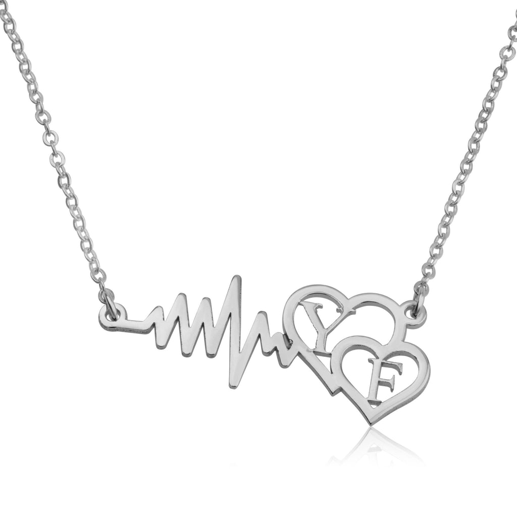 Custom Initials Necklace With Hearts - Beleco Jewelry