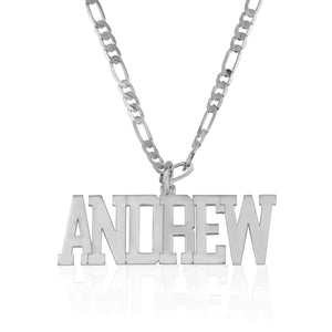 Custom Name Necklace For Men Figaro Chain - Beleco Jewelry