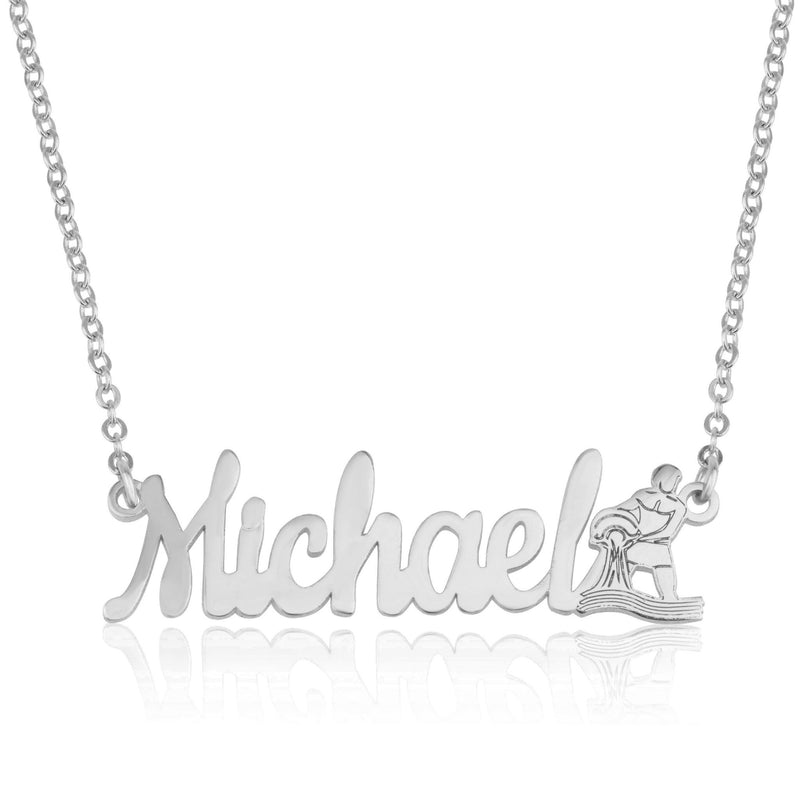 Custom Name Necklace With Aquarius Zodiac Sign - Beleco Jewelry