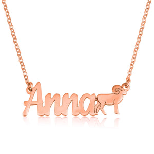 Custom Name Necklace With Aries Zodiac Sign - Beleco Jewelry