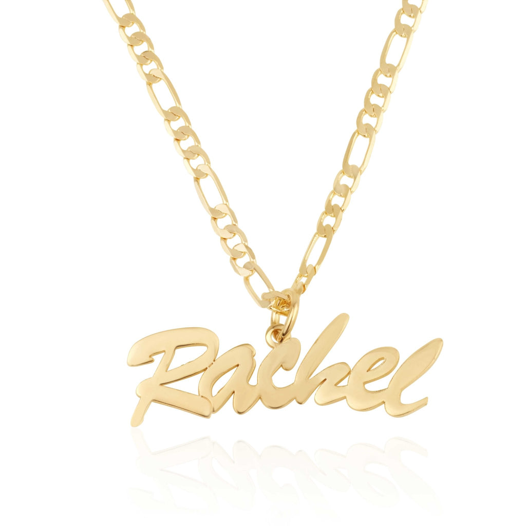 Custom Name Necklace With Figaro Chain - Beleco Jewelry