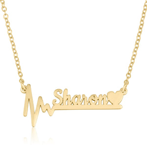 Custom Name Necklace With Heartbeat - Beleco Jewelry