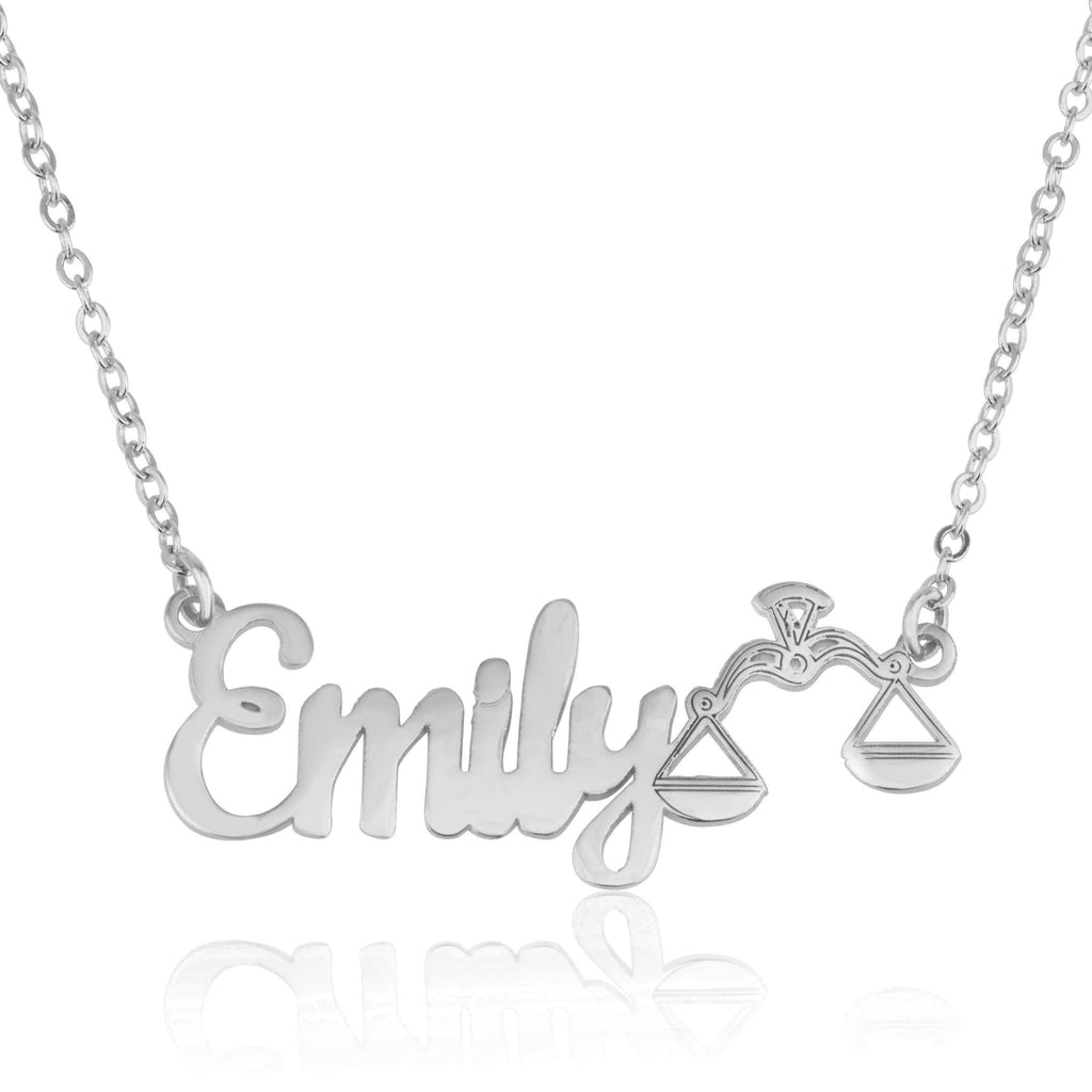 Custom Name Necklace With Libra Zodiac Sign - Beleco Jewelry
