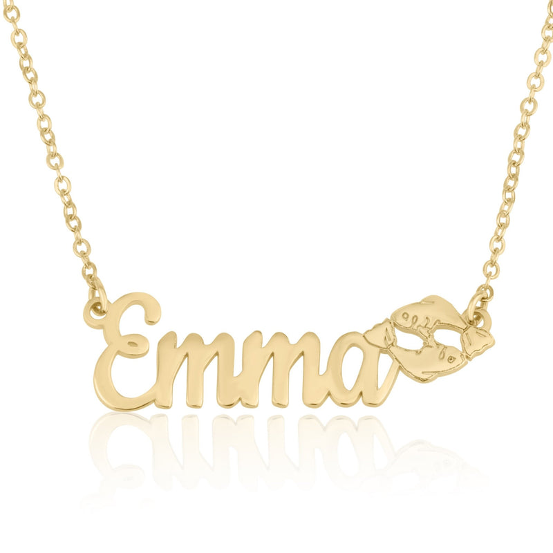 Custom Name Necklace With Pisces Zodiac Sign - Beleco Jewelry