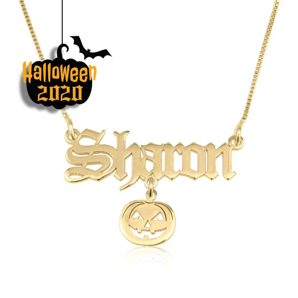 Custom Name Necklace With Pumpkin - Beleco Jewelry