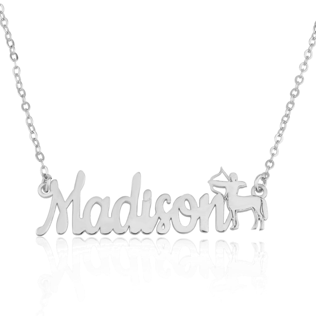 Custom Name Necklace With Sagittarius Zodiac Sign - Beleco Jewelry