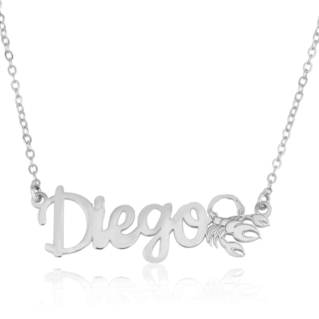 Custom Name Necklace With Scorpio Zodiac Sign - Beleco Jewelry