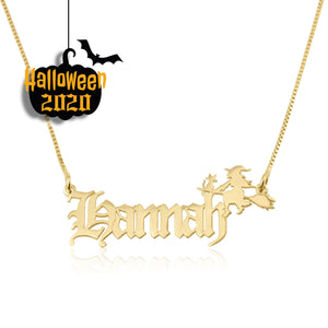 Custom Name Necklace With Witch - Beleco Jewelry
