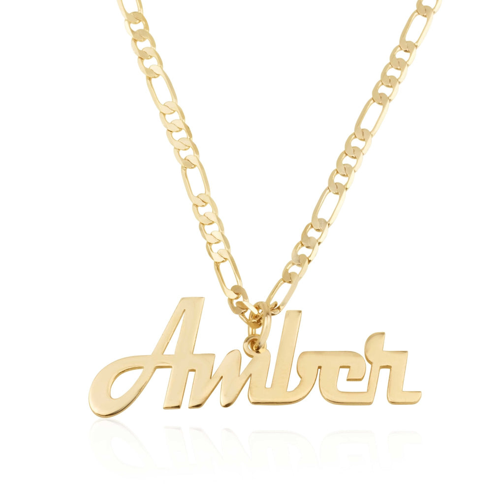 Custom Name Plate Necklace With Figaro Chain - Beleco Jewelry