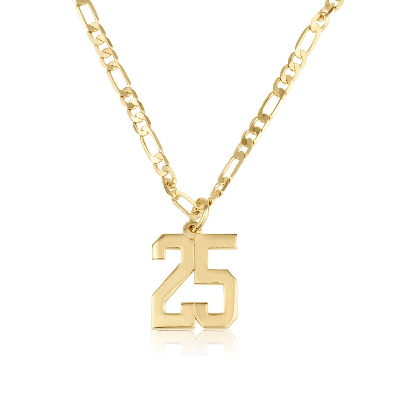 Custom Sports Number Necklace With Figaro Chain - Beleco Jewelry