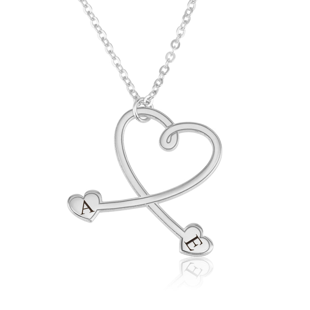 Custom Stethoscope Initial Necklace with Hearts - Beleco Jewelry