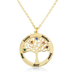 Custom Tree of Life Necklace With Birthstones - Beleco Jewelry