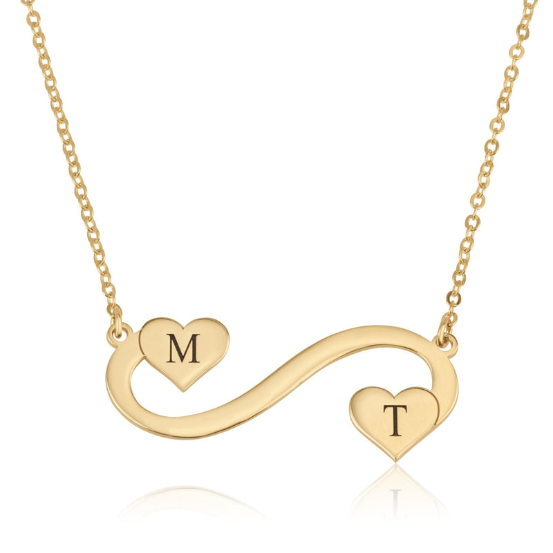 Customize Infinity Initial Necklace with hearts - Beleco Jewelry
