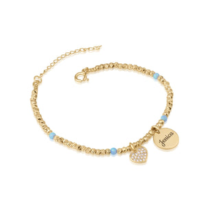 Customize Laser Beads Bracelet With Opal Stones - Beleco Jewelry