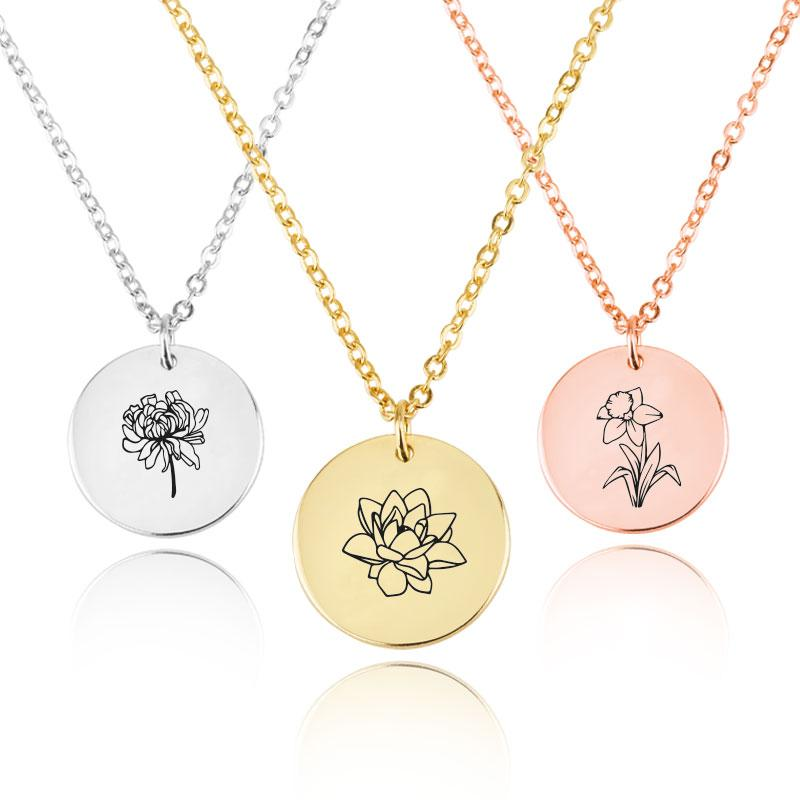 Customized Birth Month Flower Necklace - Beleco Jewelry