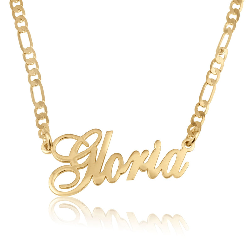 Customized Name Necklace With Figaro Chain - Beleco Jewelry