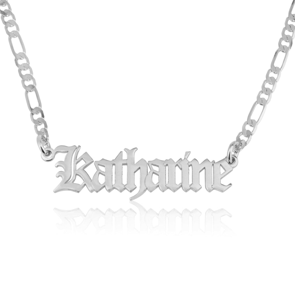 Customized Old English Name Necklace With Figaro Chain - Beleco Jewelry