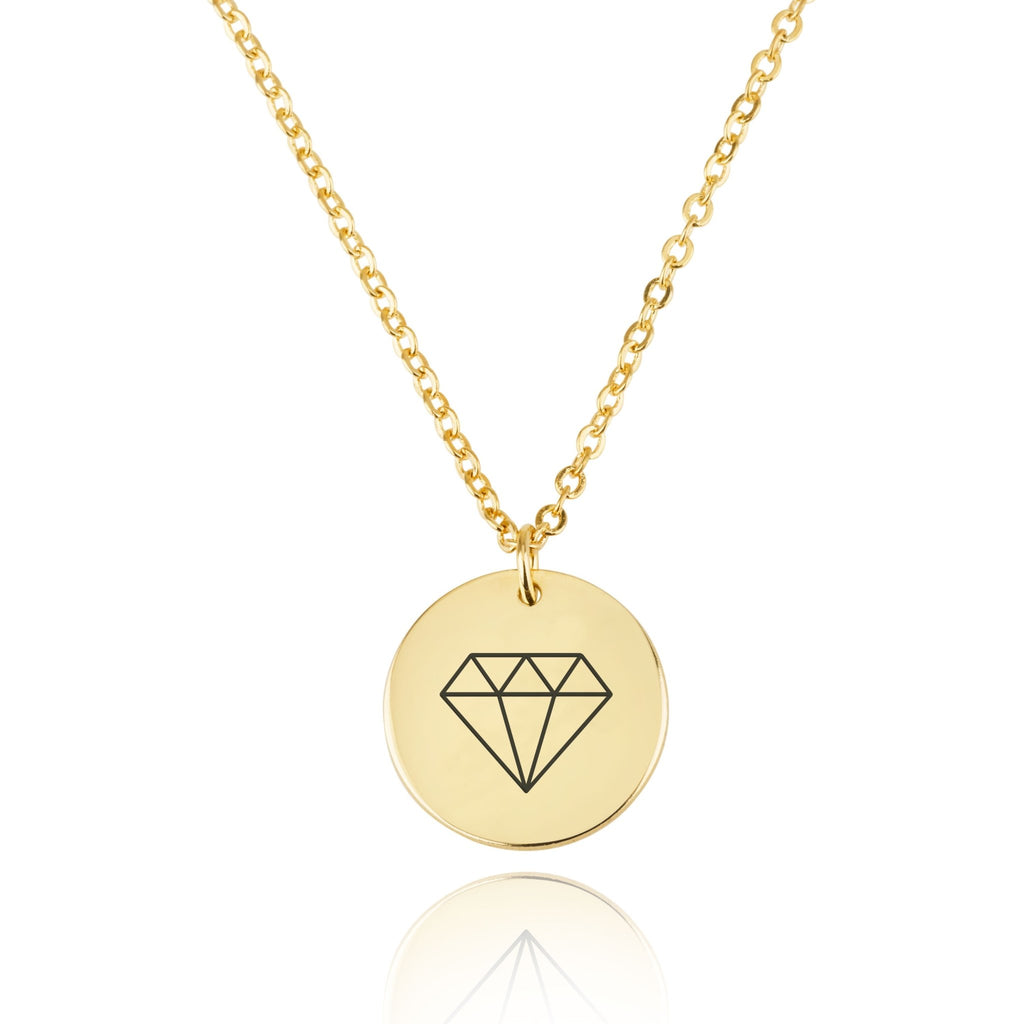 Diamond Engraving Disc Necklace - Beleco Jewelry