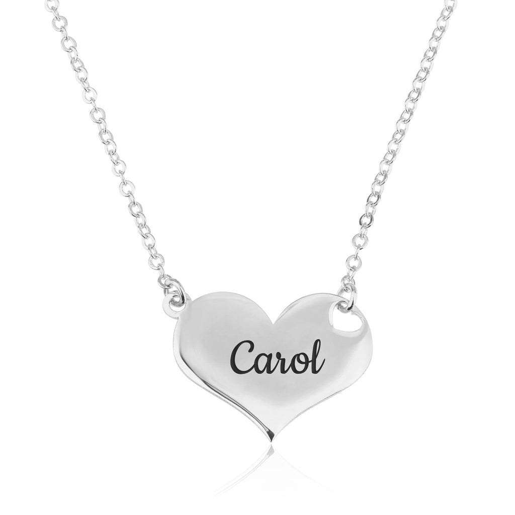 Engrave Heart Necklace - Beleco Jewelry