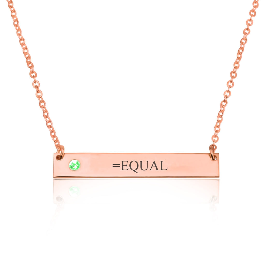 EQUAL Bar Necklace With Birthstone - Beleco Jewelry