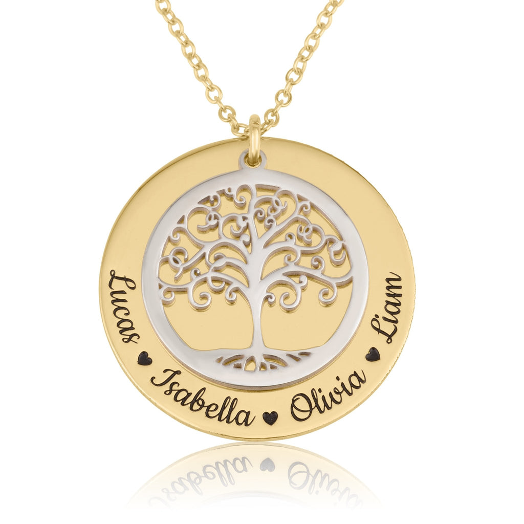 Family Tree Necklace With Names - Beleco Jewelry