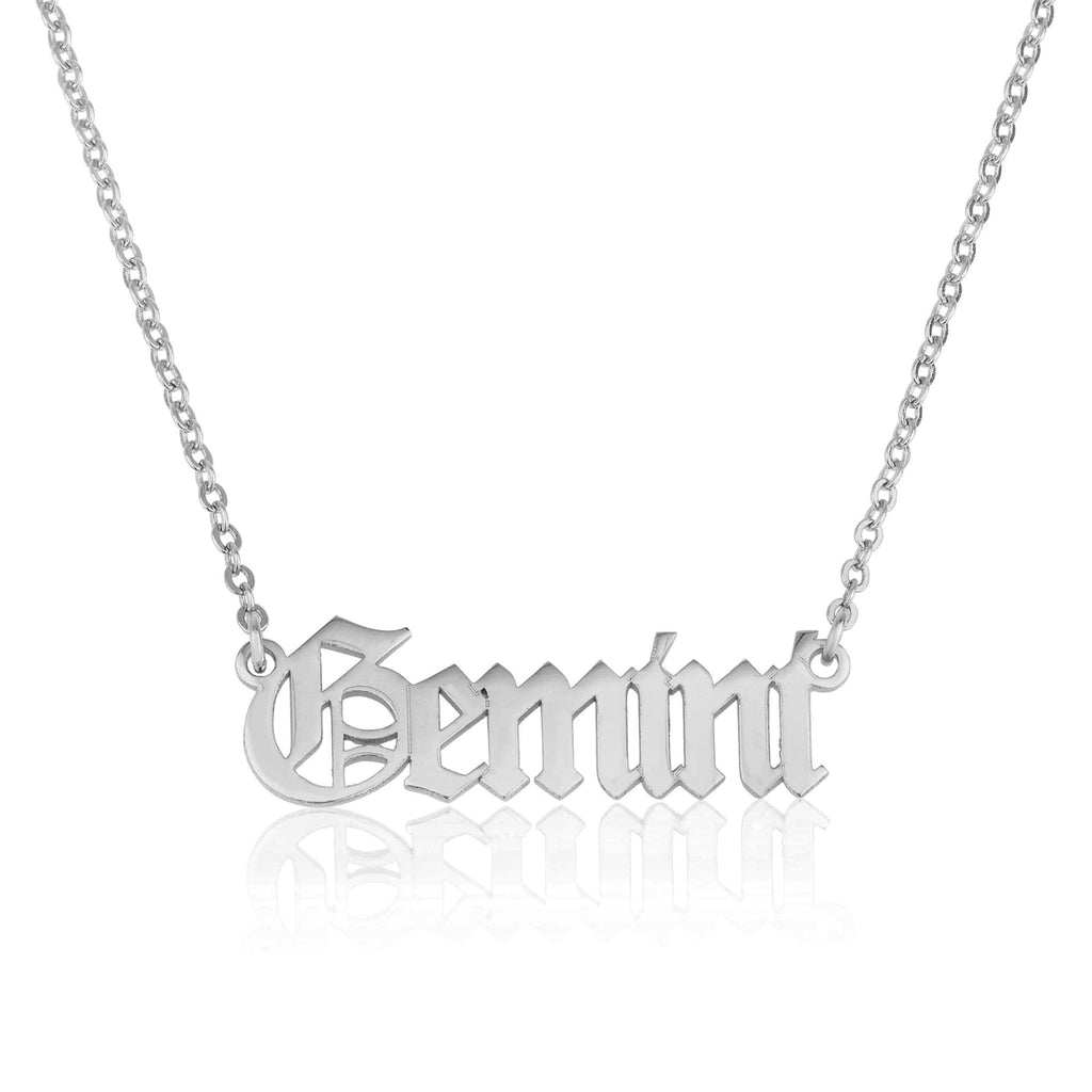 Gemini Script Necklace - Beleco Jewelry
