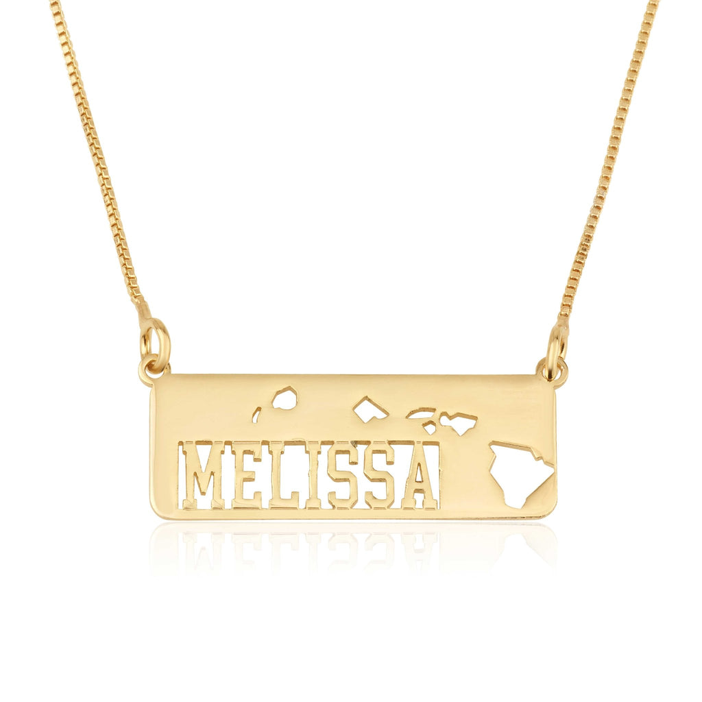 Hawaii Map Necklace With Name - Beleco Jewelry
