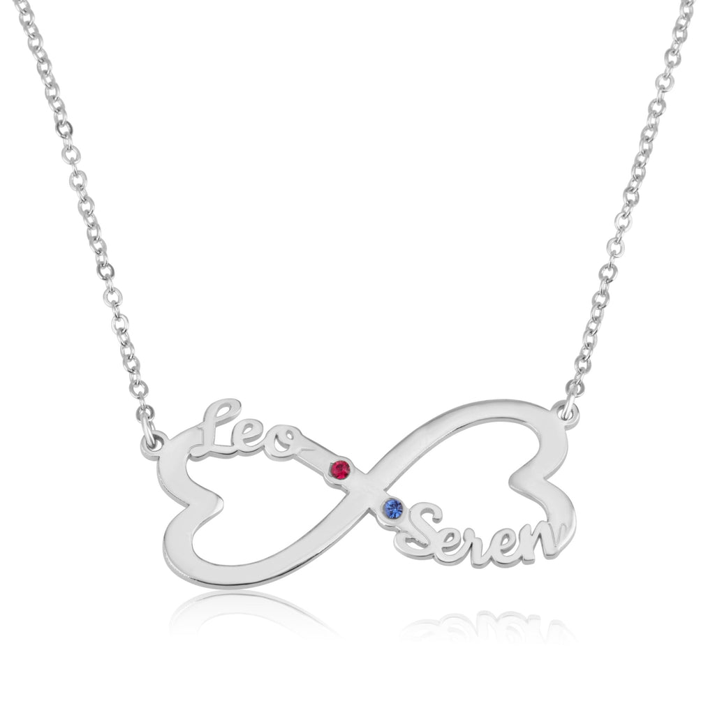 Heart Infinity Necklace With Two Names And Birthstones - Beleco Jewelry