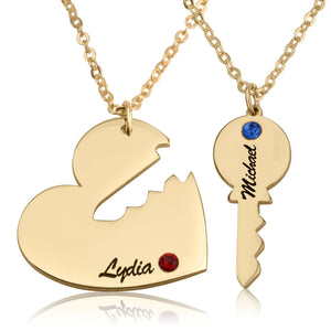 Heart With Key Necklace - Beleco Jewelry