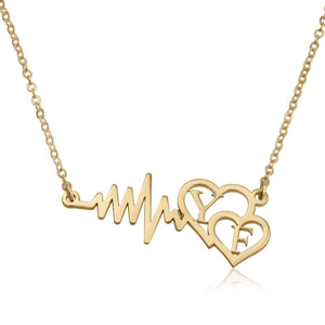 Heartbeats Necklace With Initials - Beleco Jewelry