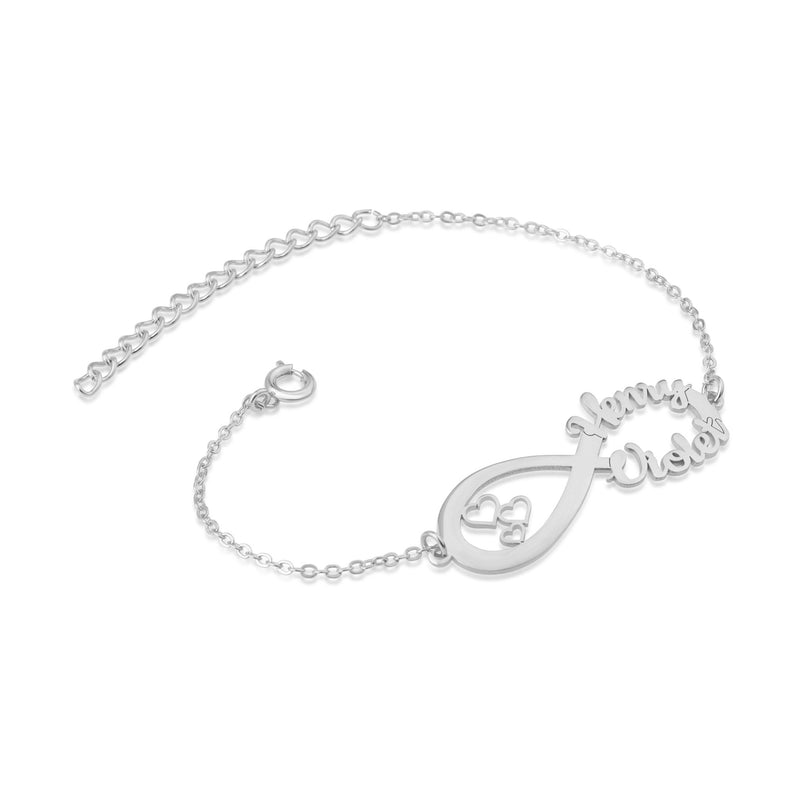 Infinity Bracelet With Names&Hearts - Beleco Jewelry