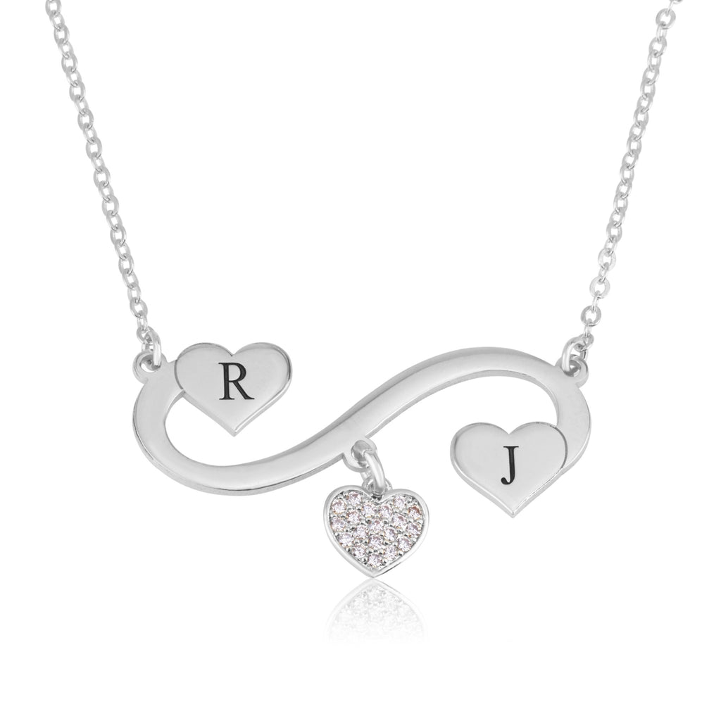 Infinity Initial Necklace with Dangle Zirkon Heart - Beleco Jewelry
